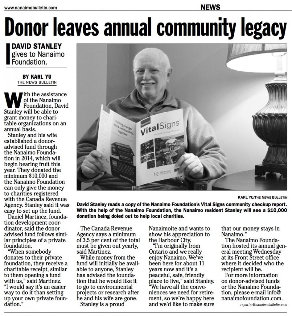 Donor leaves annual community legacy - Nanaimo News Bulletin - Feb 2015